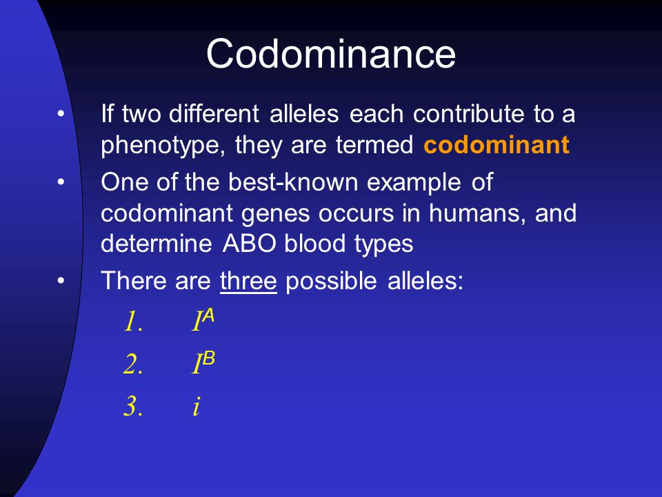 Codominance If two different alleles each contribute to a phenotype, they are termed codominant.