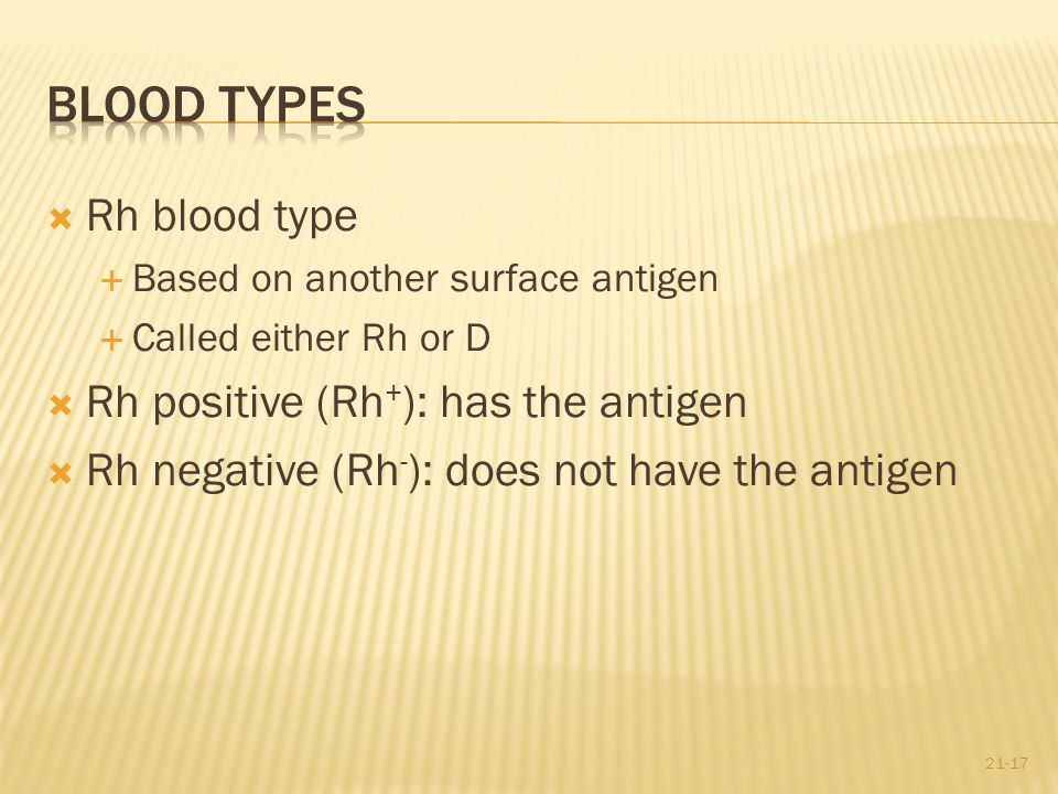 Blood Types Rh blood type Rh positive (Rh+): has the antigen