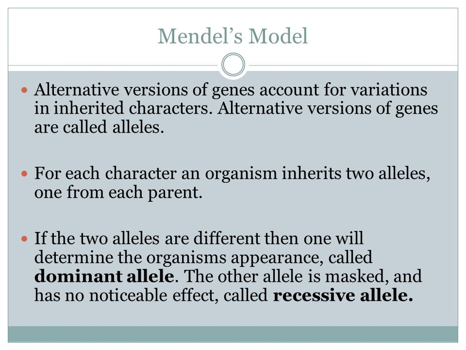 Mendel's Model Alternative versions of genes account for variations in inherited characters. Alternative versions of genes are called alleles.