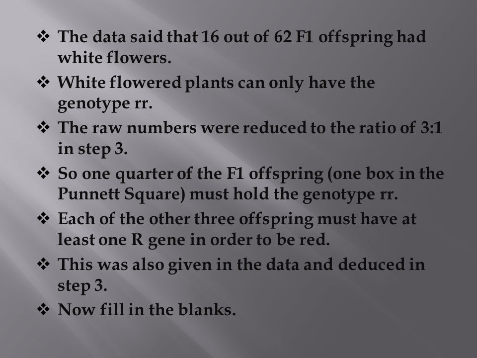 The data said that 16 out of 62 F1 offspring had white flowers.