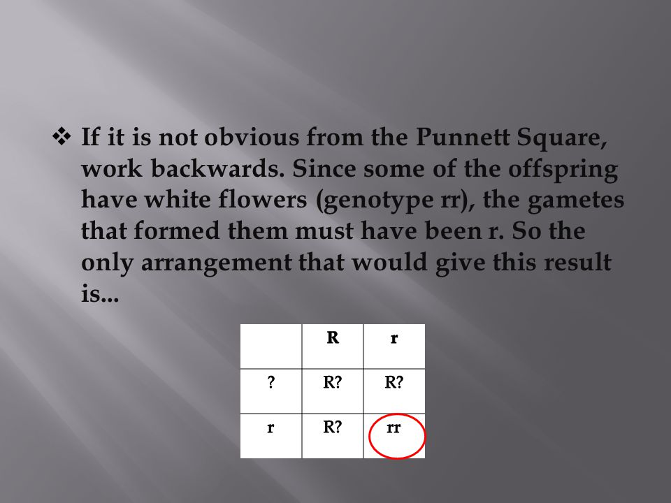 If it is not obvious from the Punnett Square, work backwards