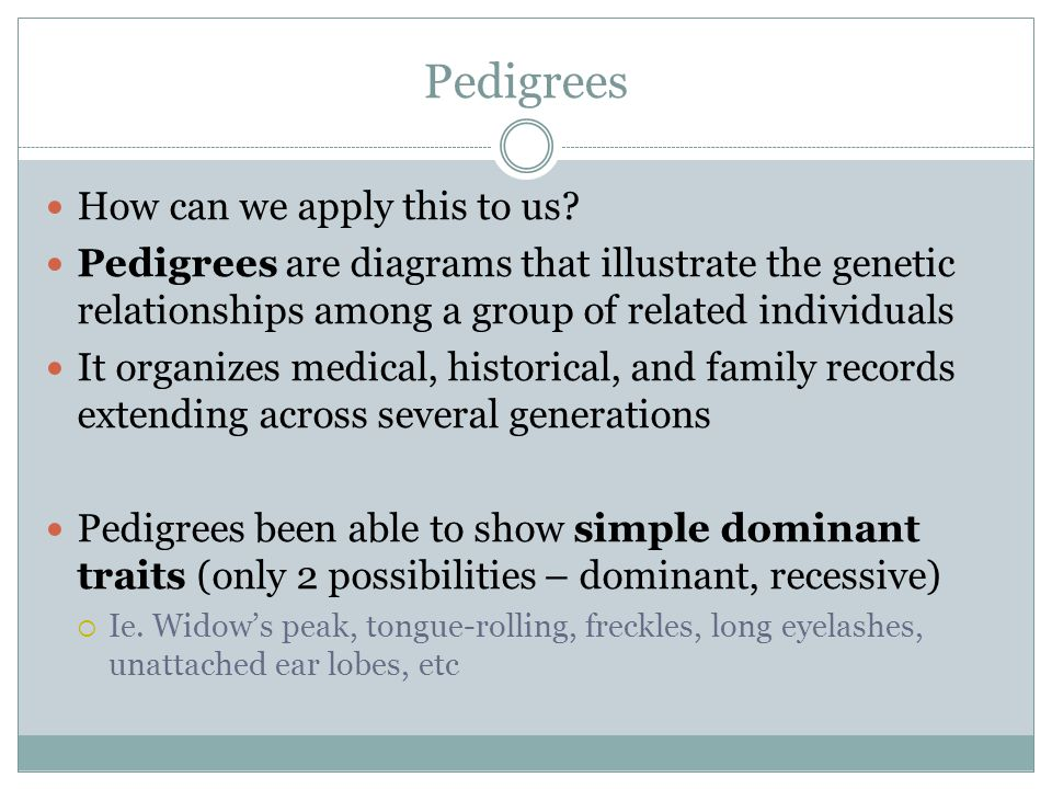 Pedigrees How can we apply this to us
