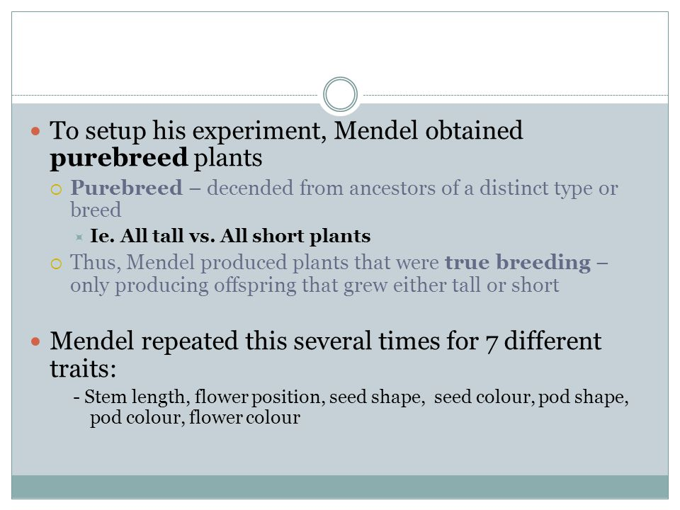 To setup his experiment, Mendel obtained purebreed plants