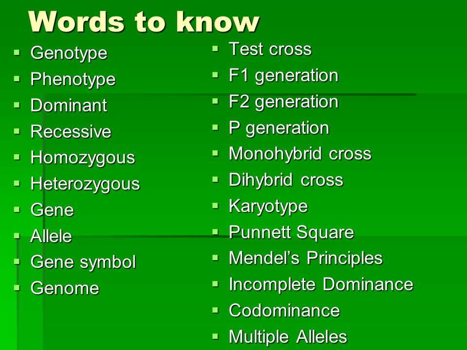 Words to know Test cross Genotype F1 generation Phenotype