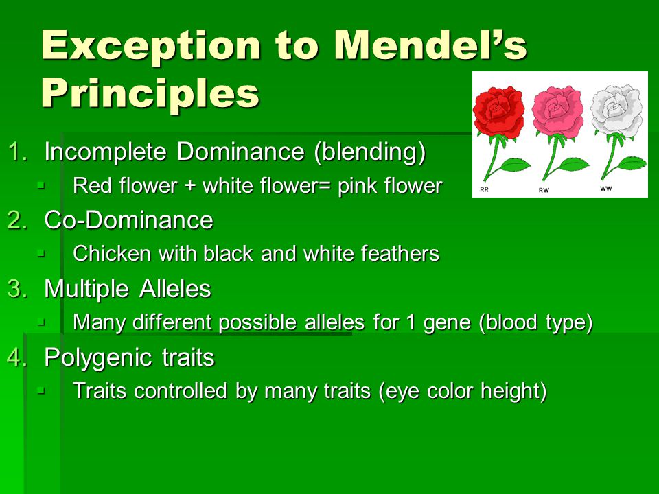 Exception to Mendel's Principles