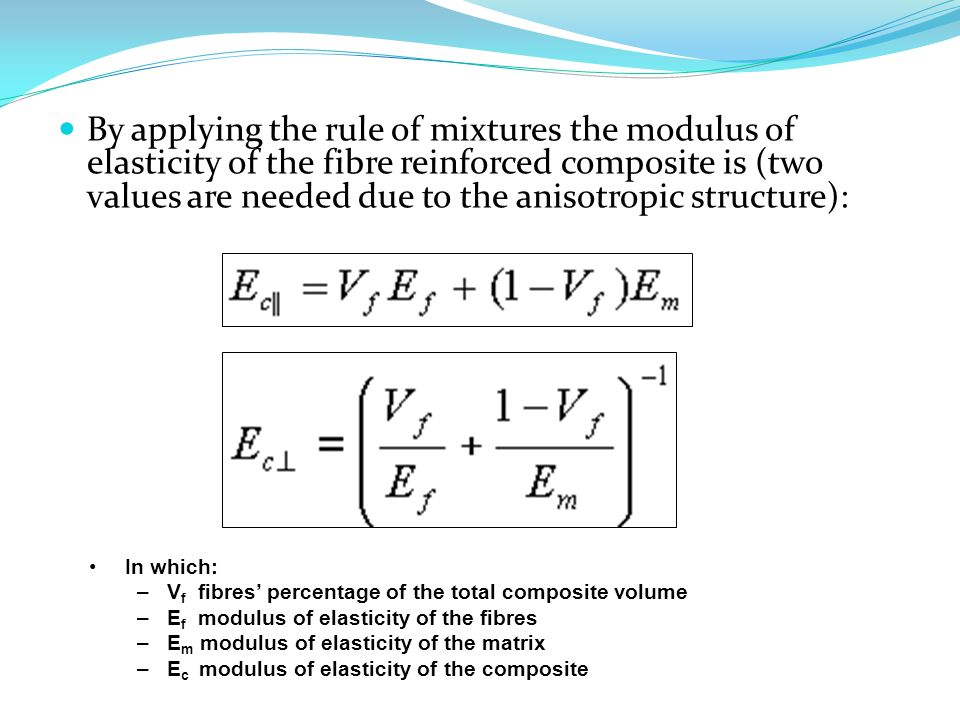 By applying the rule of mixtures the modulus of elasticity of the fibre reinforced composite is (two values are needed due to the anisotropic structure):