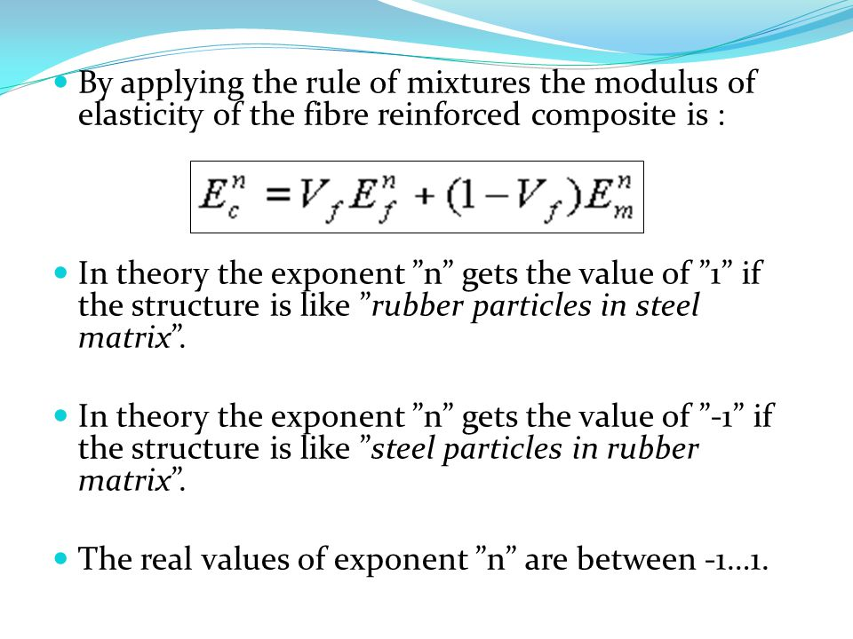 By applying the rule of mixtures the modulus of elasticity of the fibre reinforced composite is :