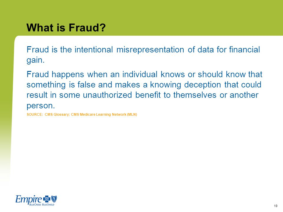 What is Fraud Fraud is the intentional misrepresentation of data for financial gain.