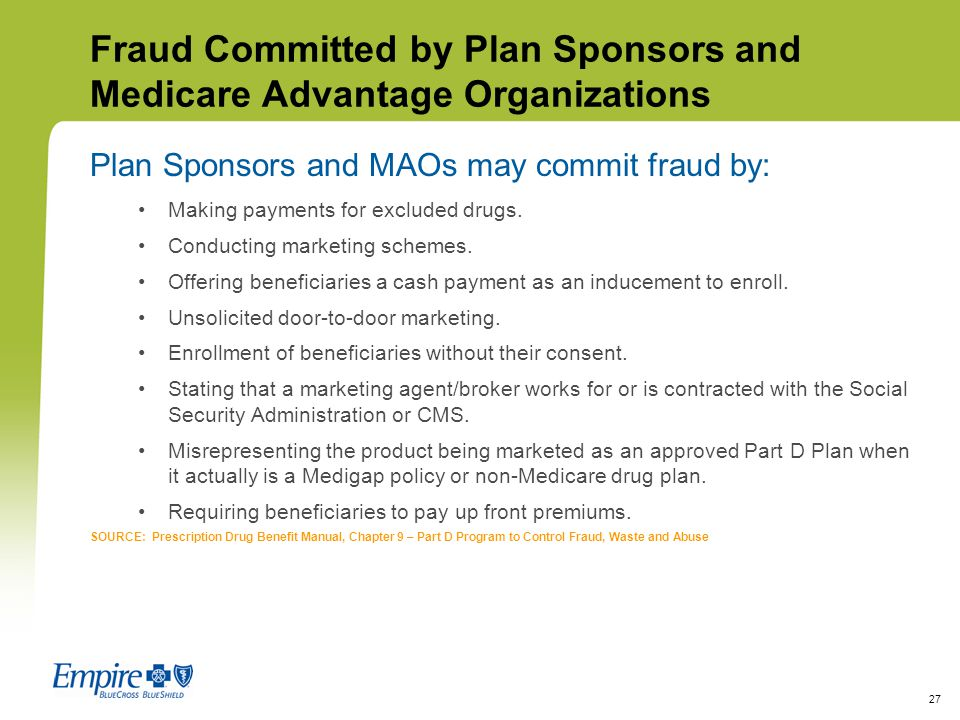 Fraud Committed by Plan Sponsors and Medicare Advantage Organizations
