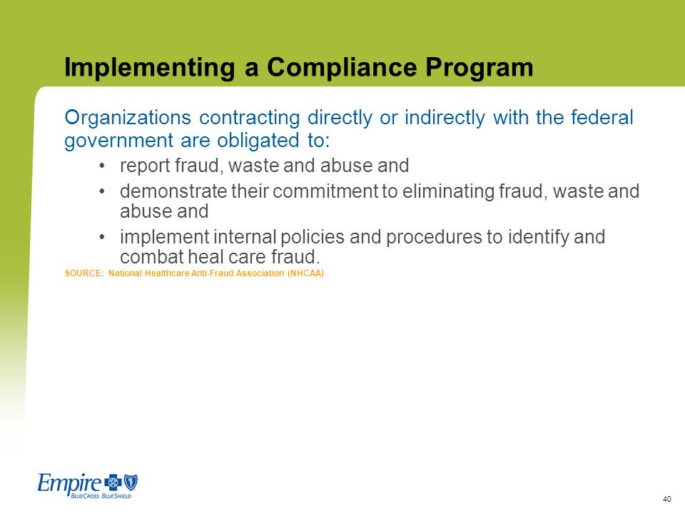 Implementing a Compliance Program
