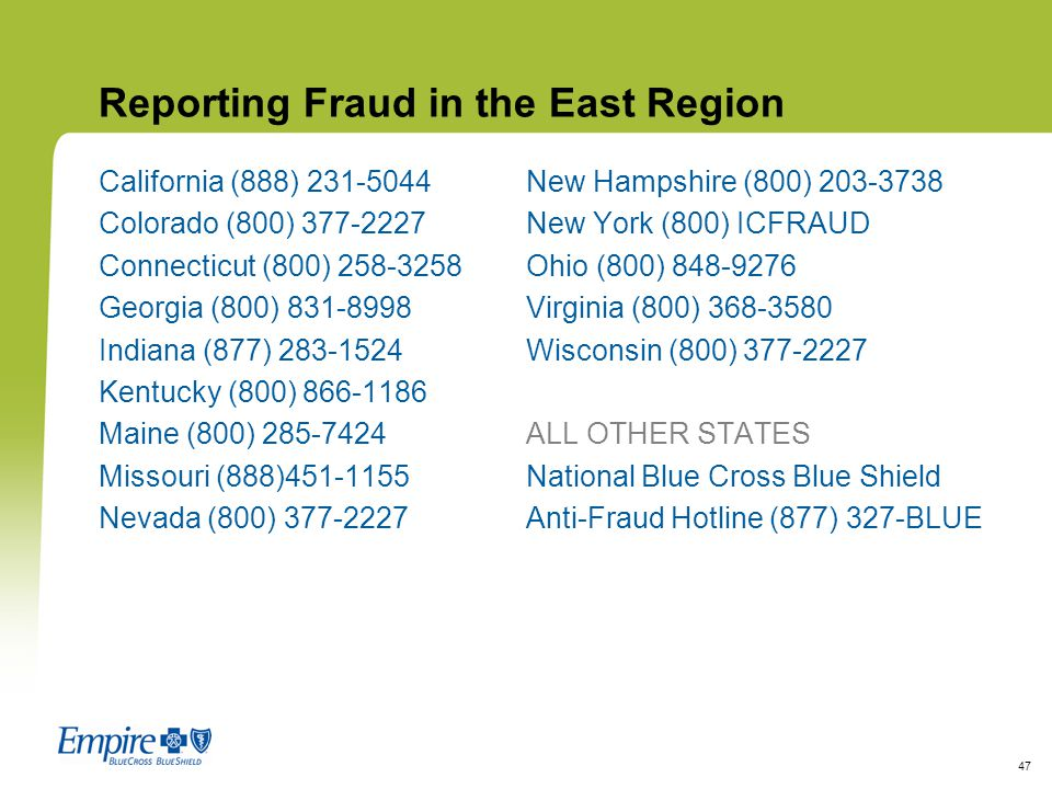 Reporting Fraud in the East Region