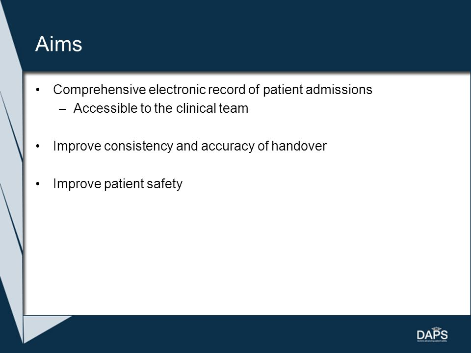 Aims Comprehensive electronic record of patient admissions