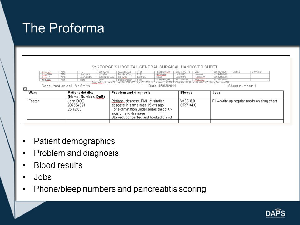 The Proforma Patient demographics Problem and diagnosis Blood results