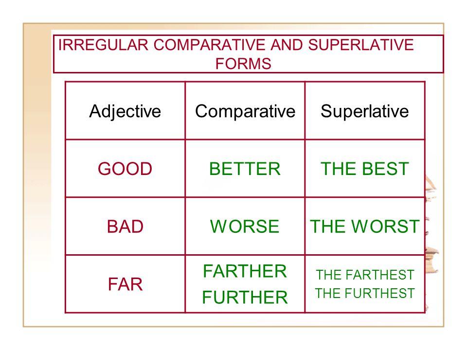 IRREGULAR COMPARATIVE AND SUPERLATIVE FORMS