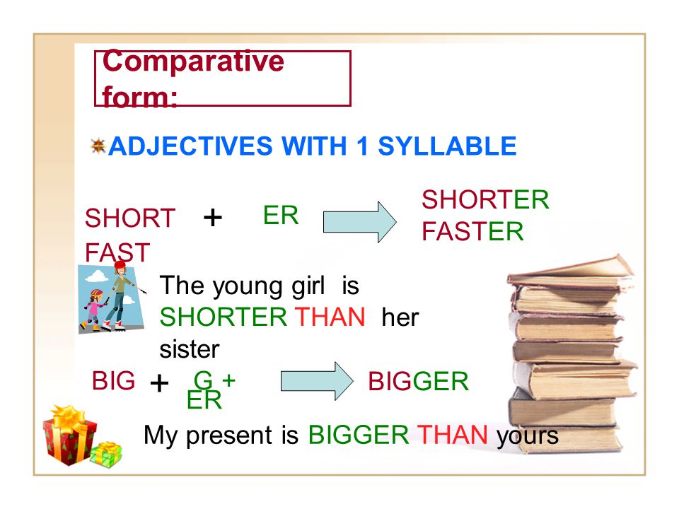 + + Comparative form: ADJECTIVES WITH 1 SYLLABLE SHORTER FASTER SHORT