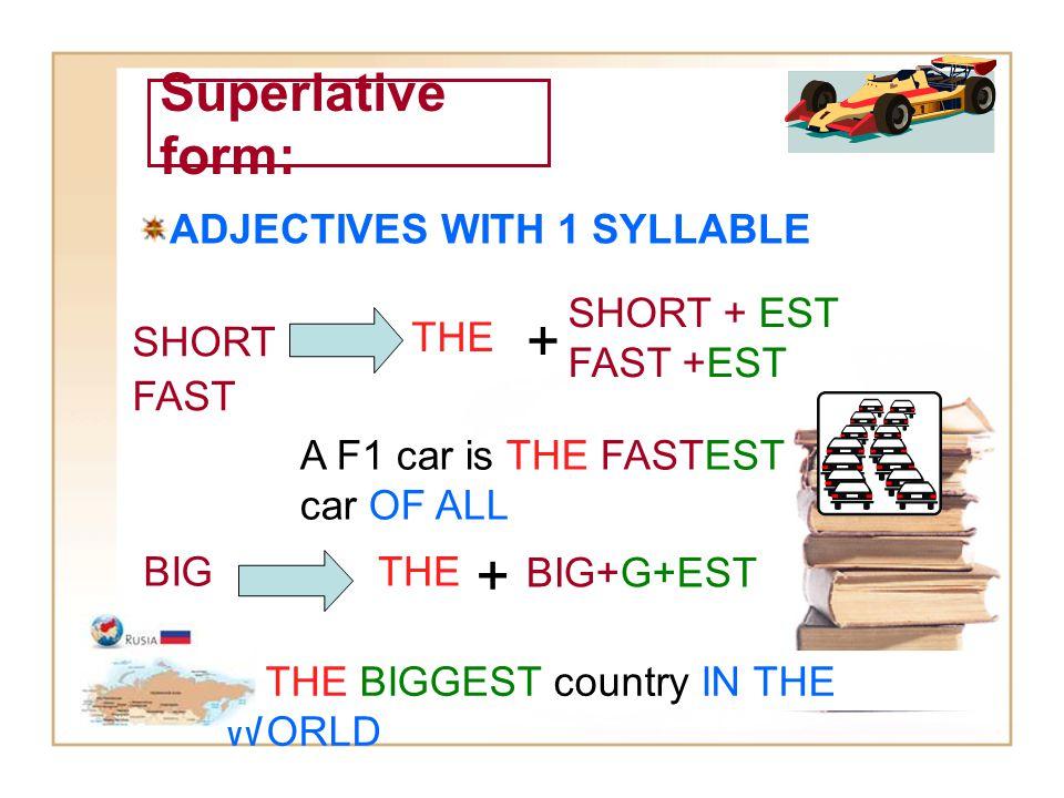 + + Superlative form: ADJECTIVES WITH 1 SYLLABLE SHORT + EST FAST +EST