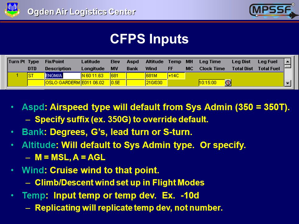 CFPS Inputs Aspd: Airspeed type will default from Sys Admin (350 = 350T). Specify suffix (ex. 350G) to override default.