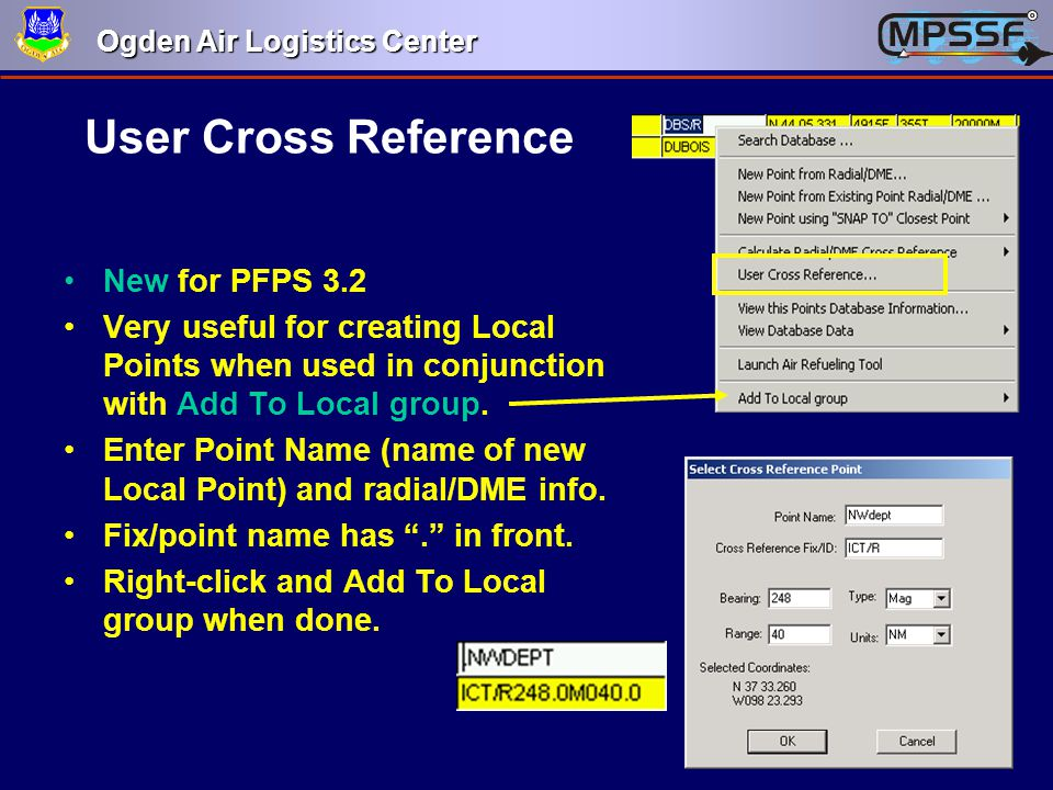 User Cross Reference New for PFPS 3.2