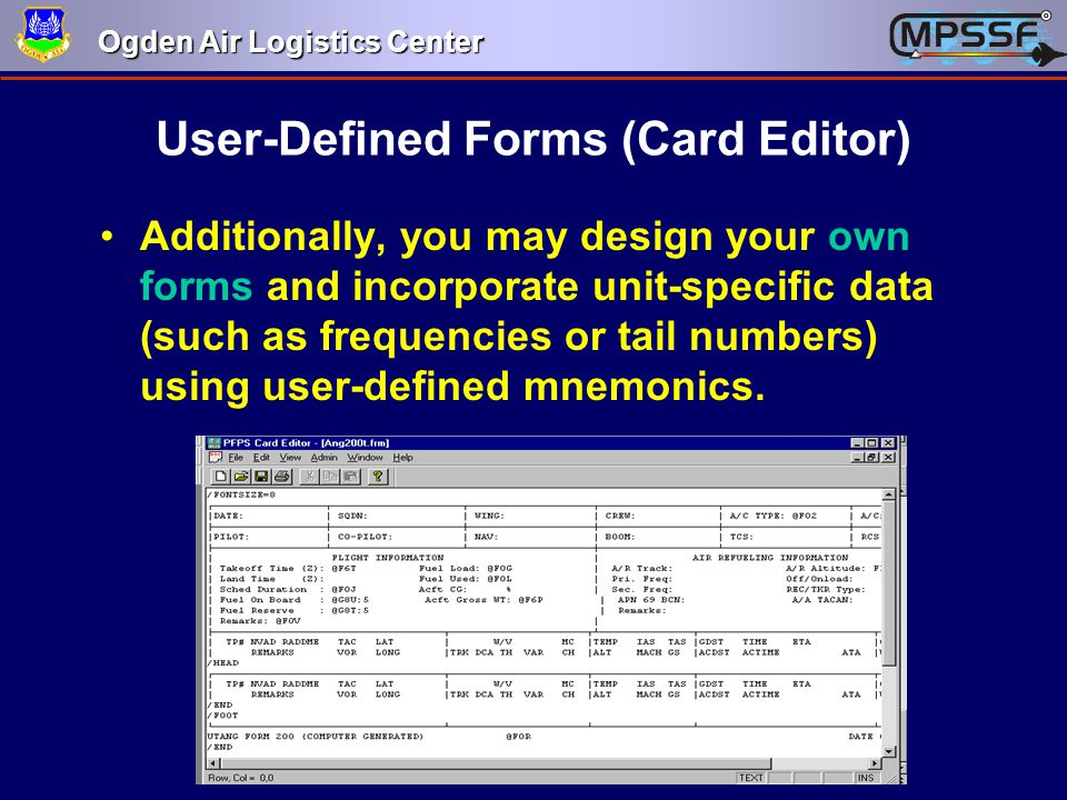 User-Defined Forms (Card Editor)