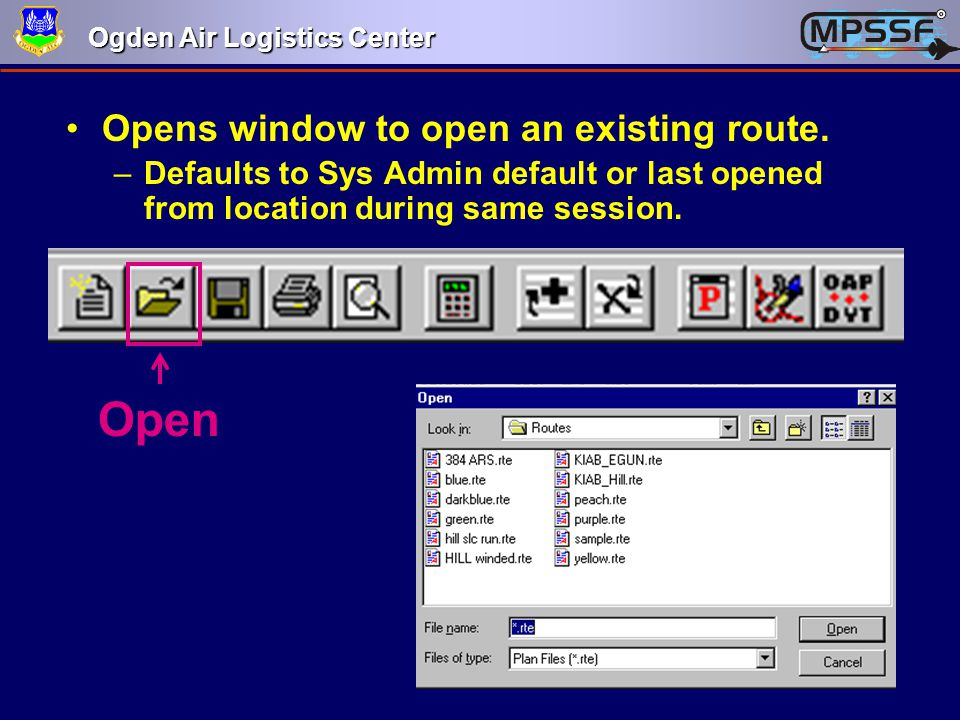 Open Opens window to open an existing route.