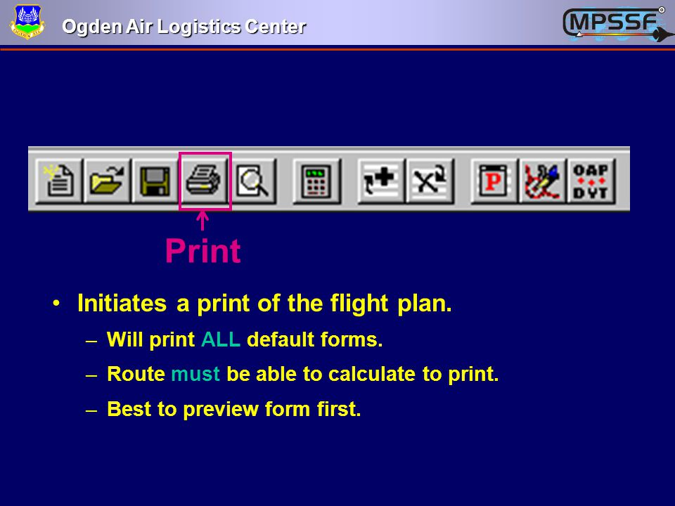 Print Initiates a print of the flight plan.
