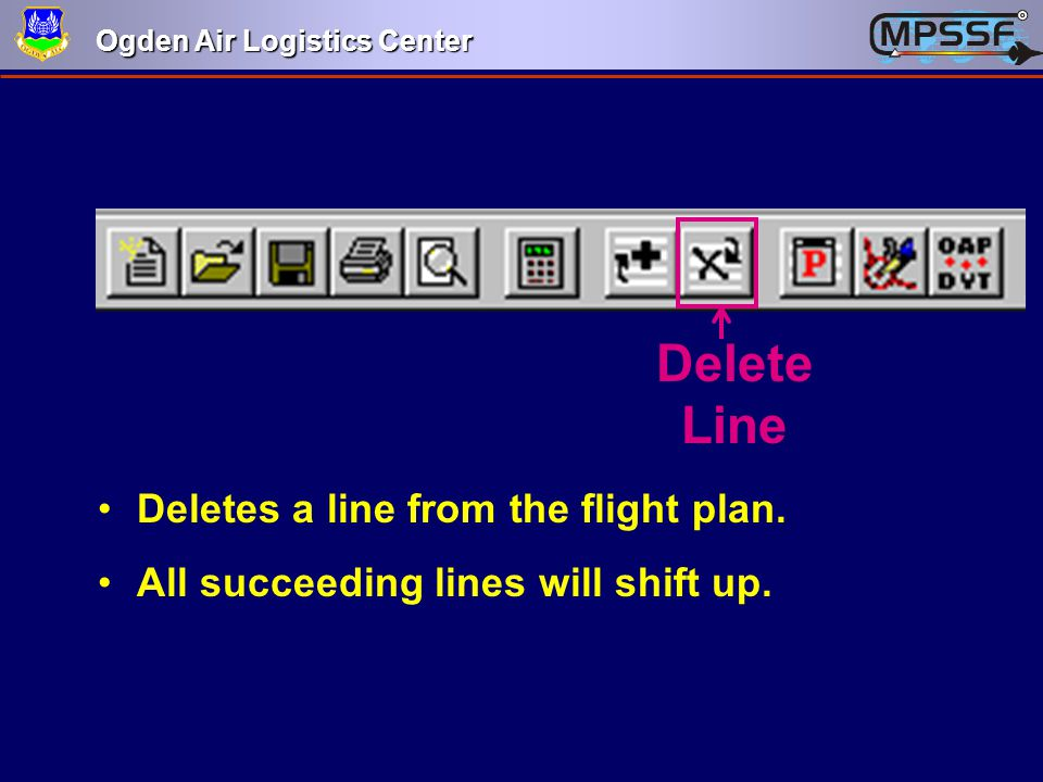 Delete Line Deletes a line from the flight plan.