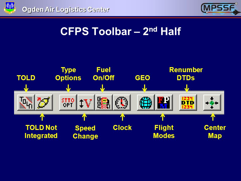 CFPS Toolbar – 2nd Half TOLD TOLD Not Integrated Type Options