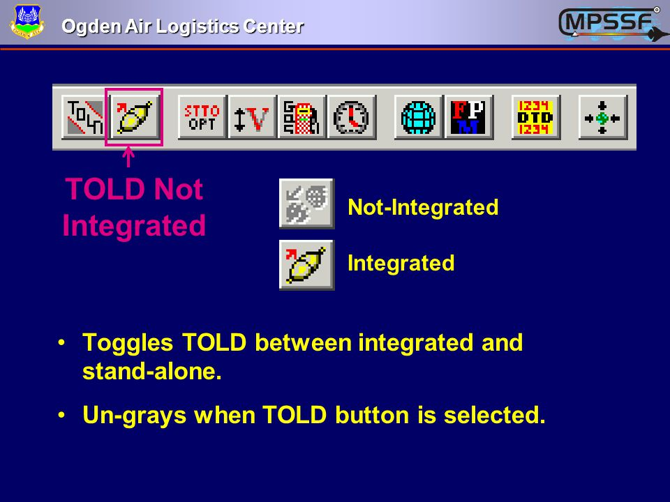 TOLD Not Integrated Toggles TOLD between integrated and stand-alone.