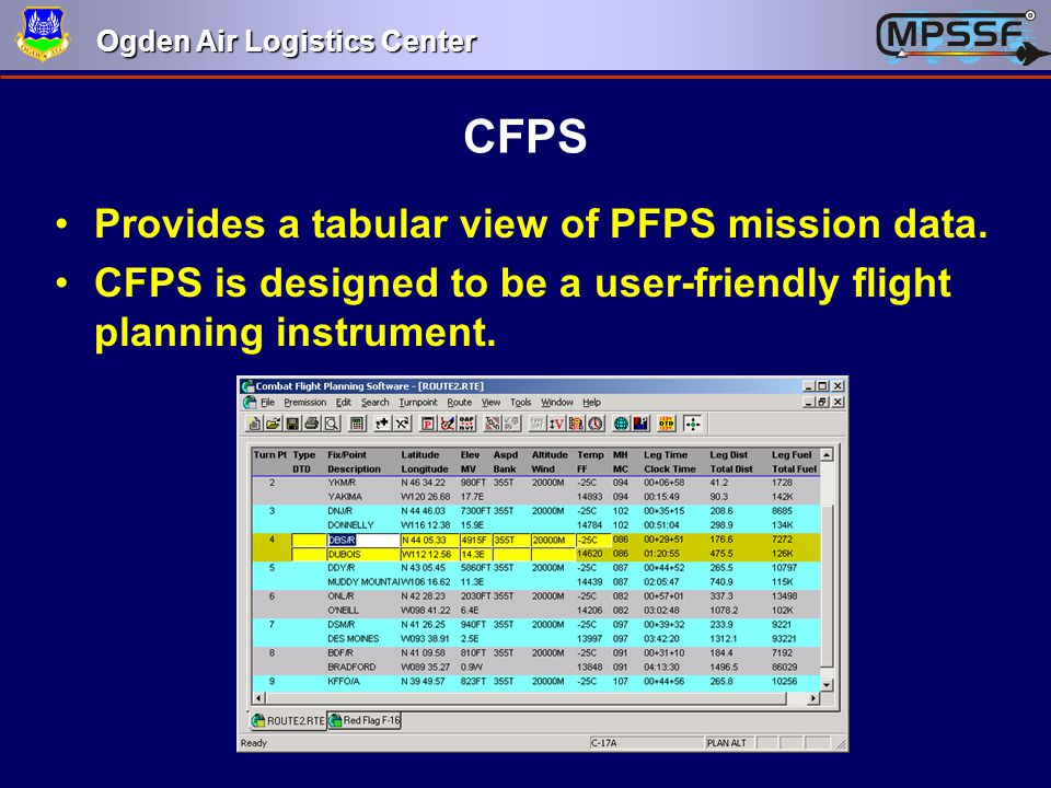 CFPS Provides a tabular view of PFPS mission data.