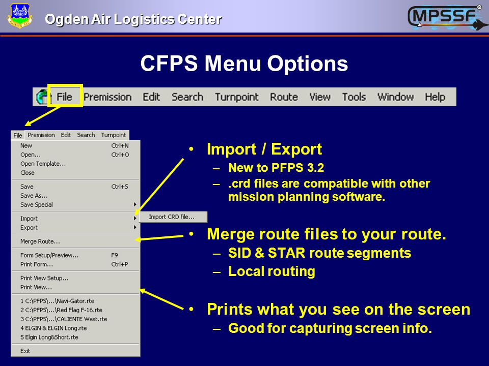 CFPS Menu Options Import / Export Merge route files to your route.