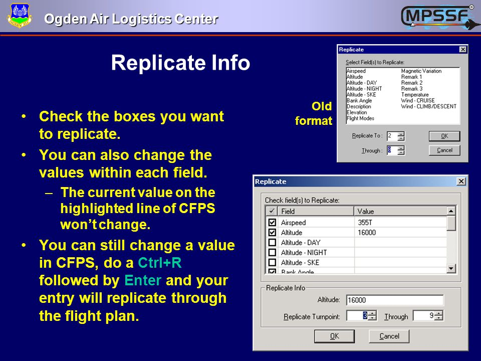 Replicate Info Check the boxes you want to replicate.