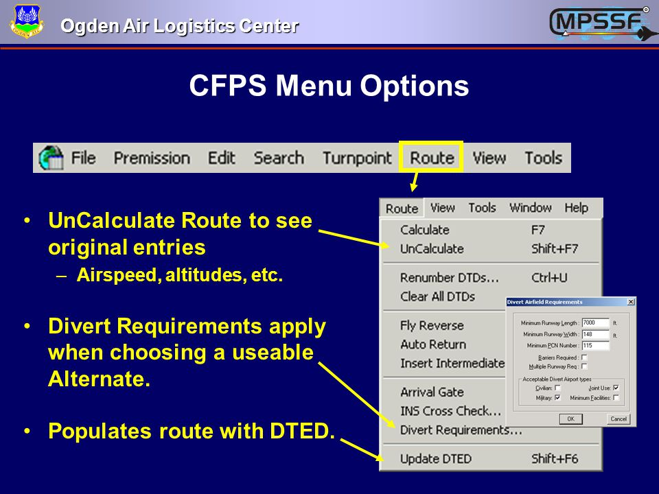 CFPS Menu Options UnCalculate Route to see original entries
