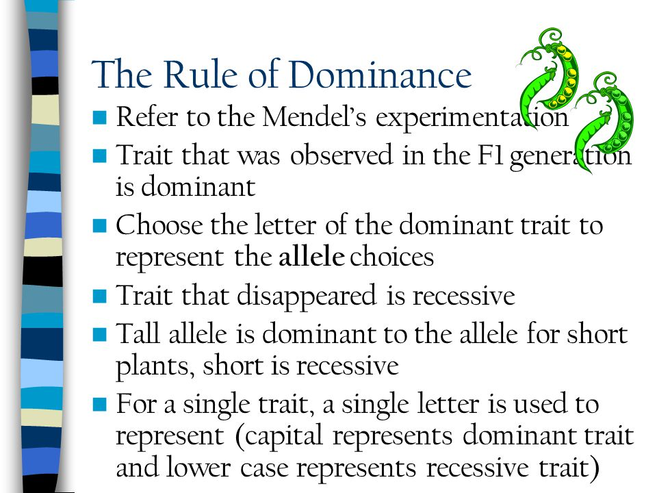 The Rule of Dominance Refer to the Mendel's experimentation