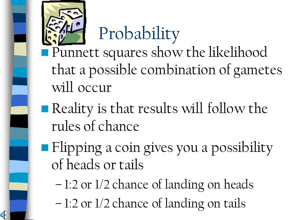 Probability Punnett squares show the likelihood that a possible combination of gametes will occur.