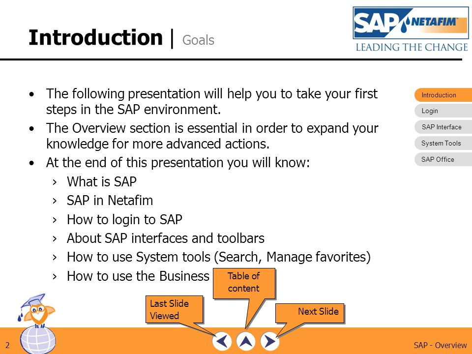 Introduction | Goals The following presentation will help you to take your first steps in the SAP environment.