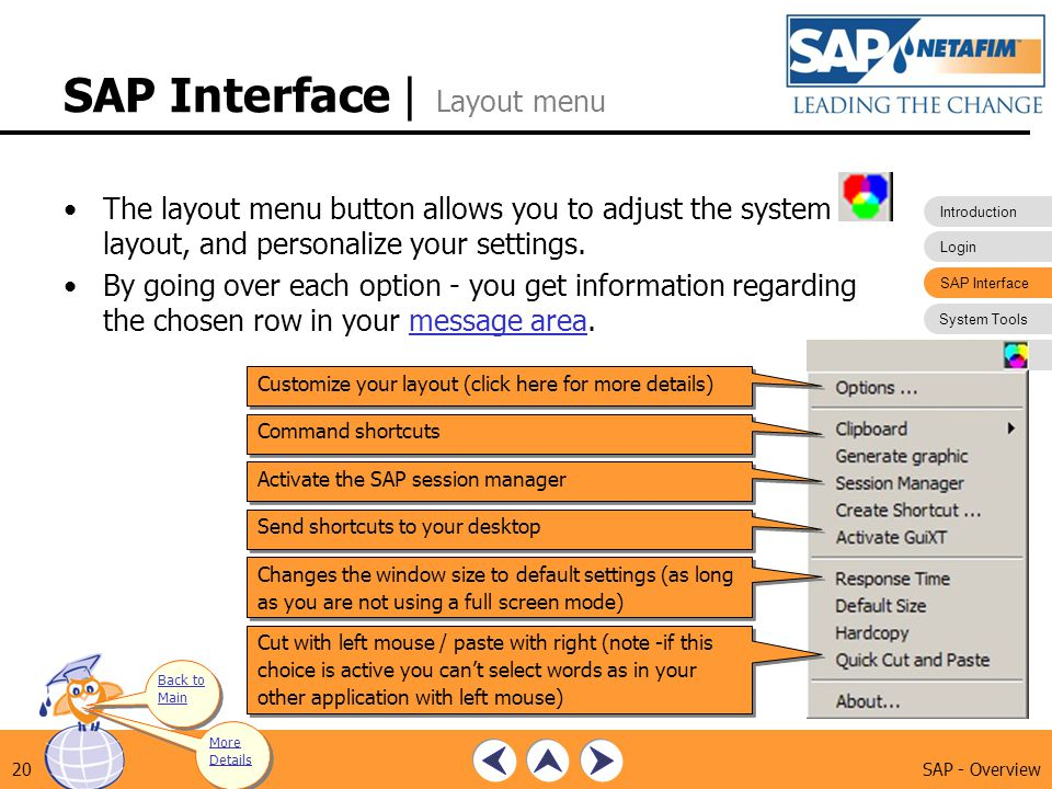 SAP Interface | Layout menu