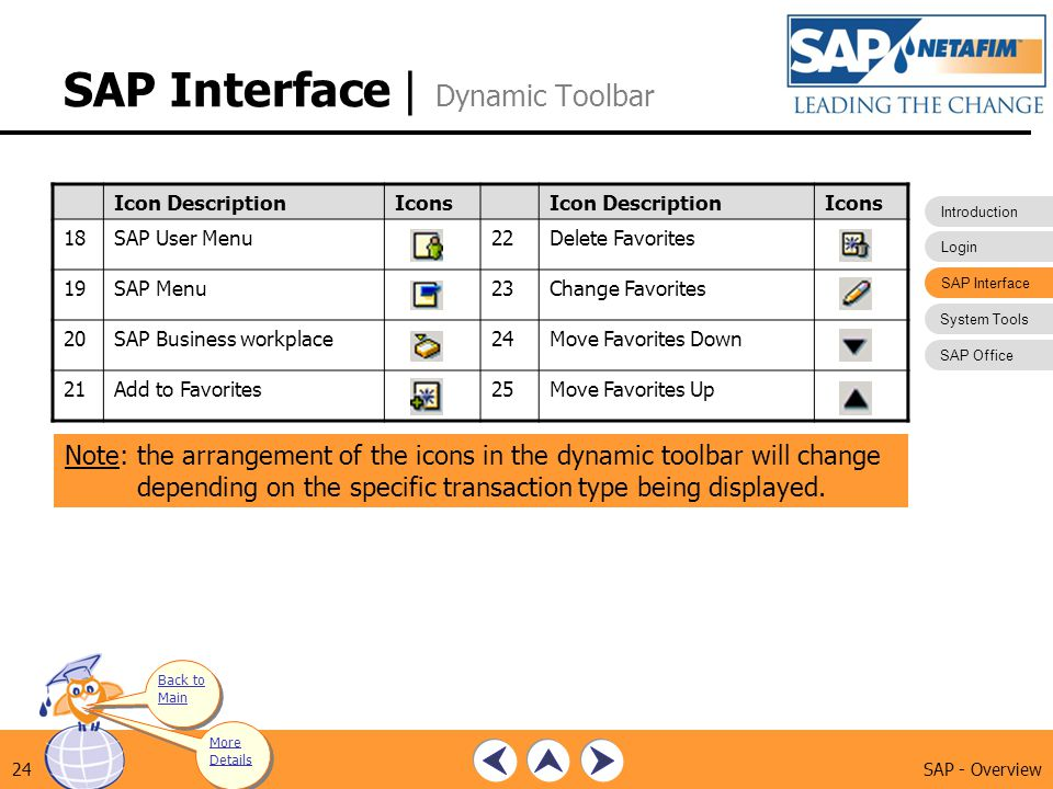 SAP Interface | Dynamic Toolbar