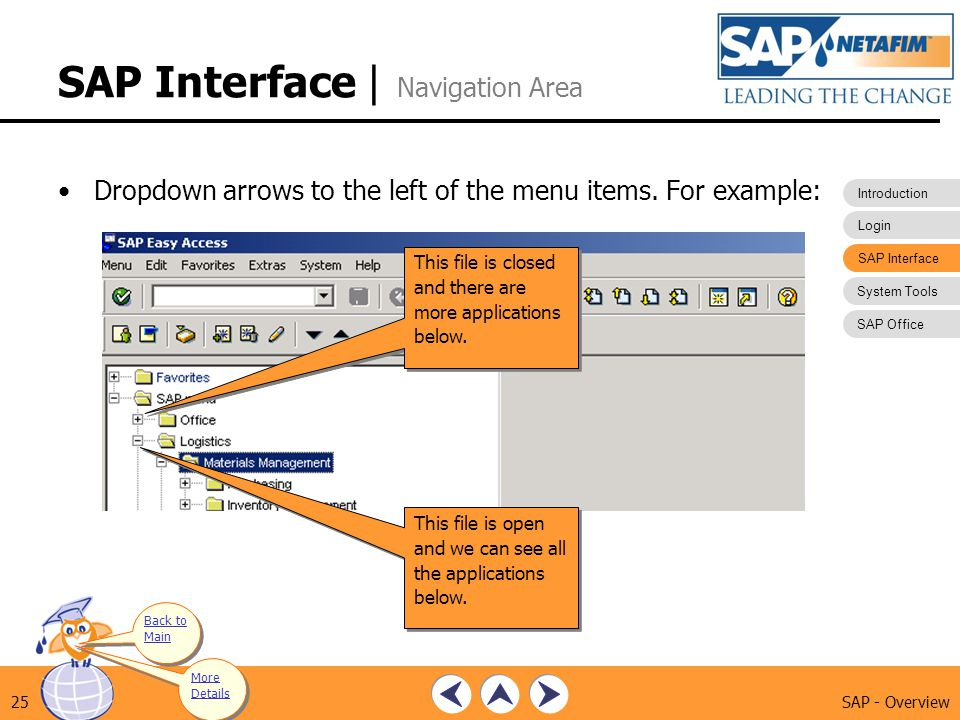 SAP Interface | Navigation Area