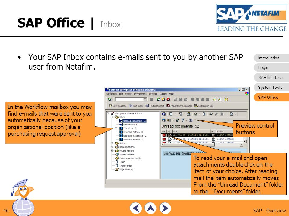 SAP Office | Inbox Your SAP Inbox contains e-mails sent to you by another SAP user from Netafim. SAP Office.
