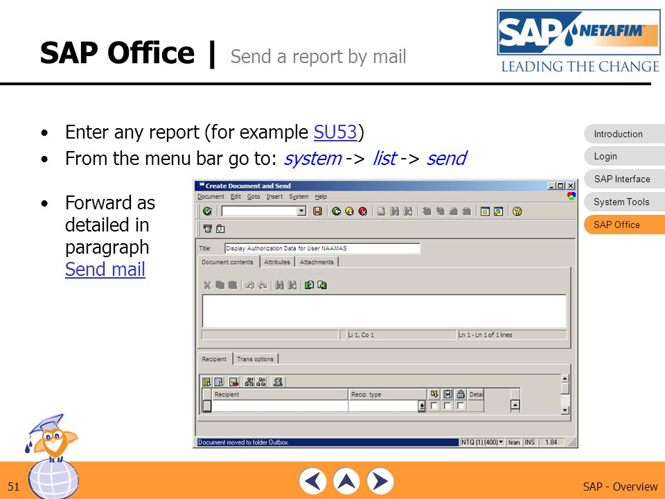 SAP Office | Send a report by mail