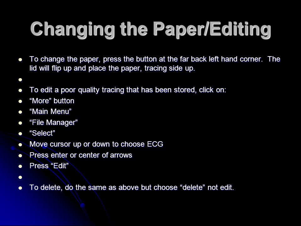 Changing the Paper/Editing