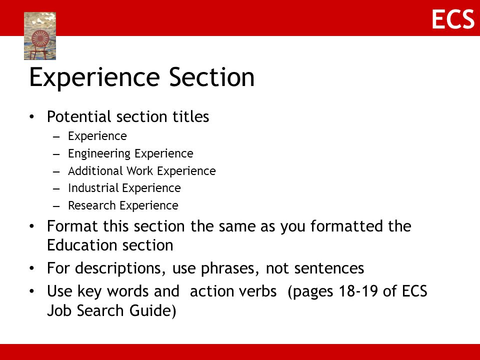 Experience Section Potential section titles