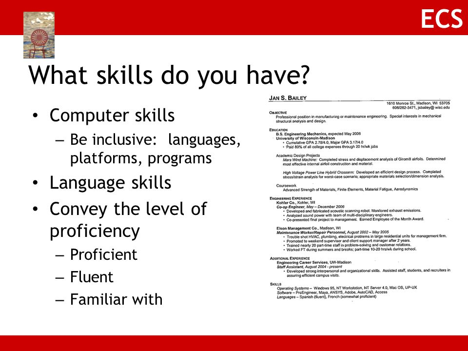 What skills do you have Computer skills Language skills
