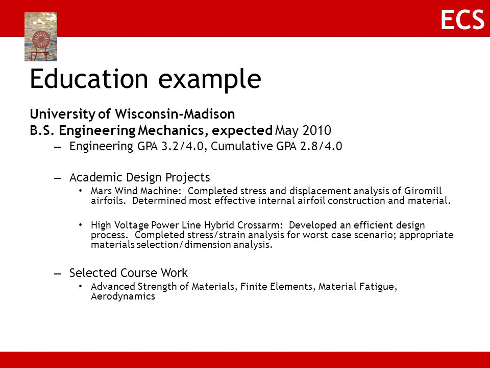 Education example University of Wisconsin-Madison