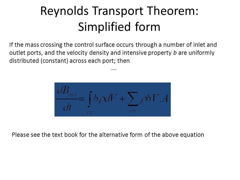Reynolds Transport Theorem: Simplified form
