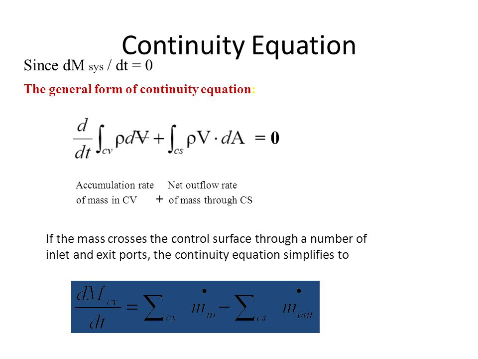Continuity Equation = 0 Since dM sys / dt = 0
