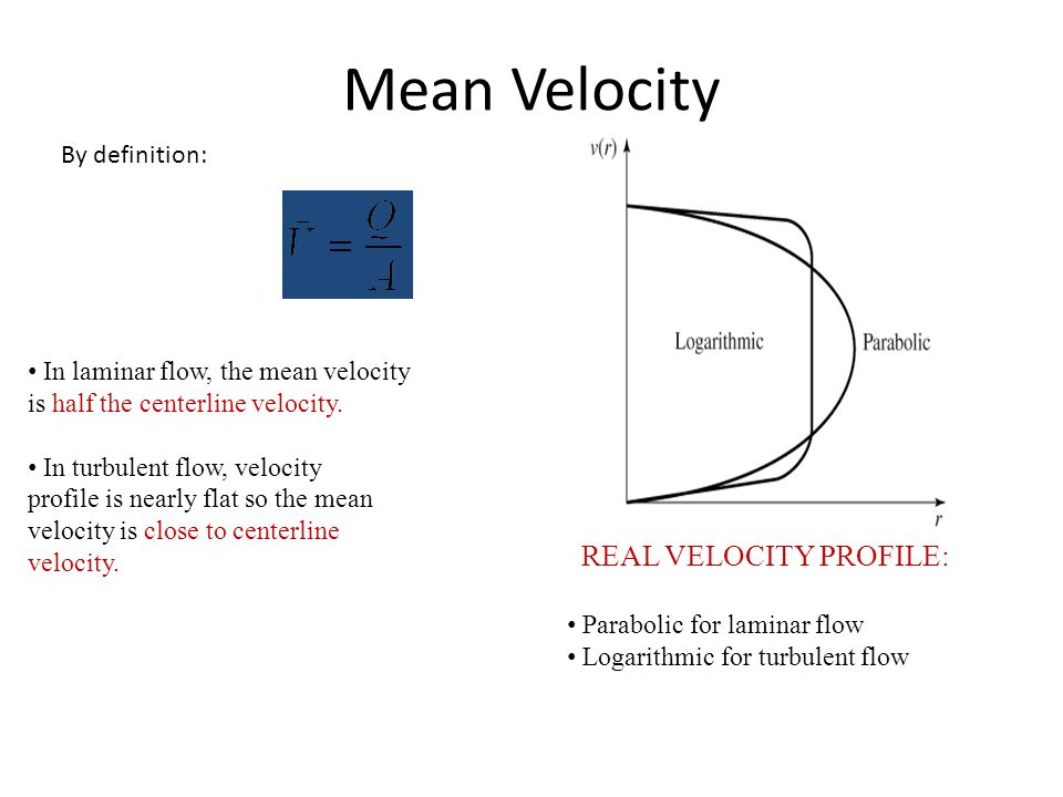Mean Velocity REAL VELOCITY PROFILE: By definition: