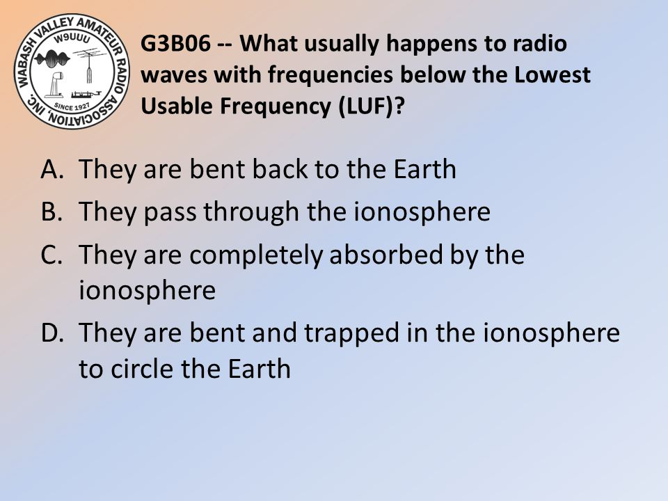 G3B06 -- What usually happens to radio waves with frequencies below the Lowest Usable Frequency (LUF)