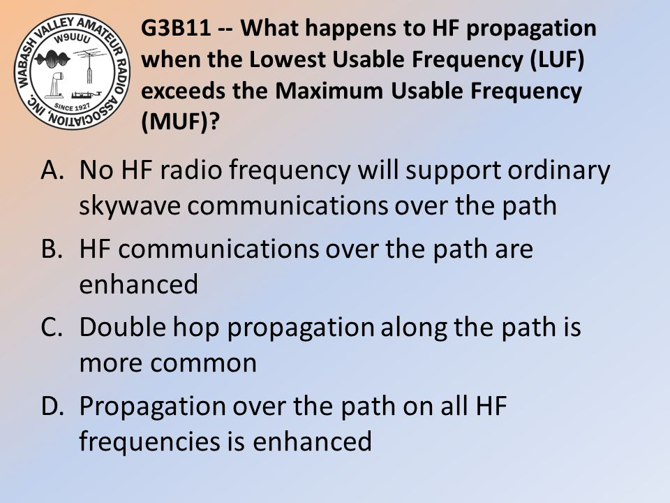 G3B11 -- What happens to HF propagation when the Lowest Usable Frequency (LUF) exceeds the Maximum Usable Frequency (MUF)