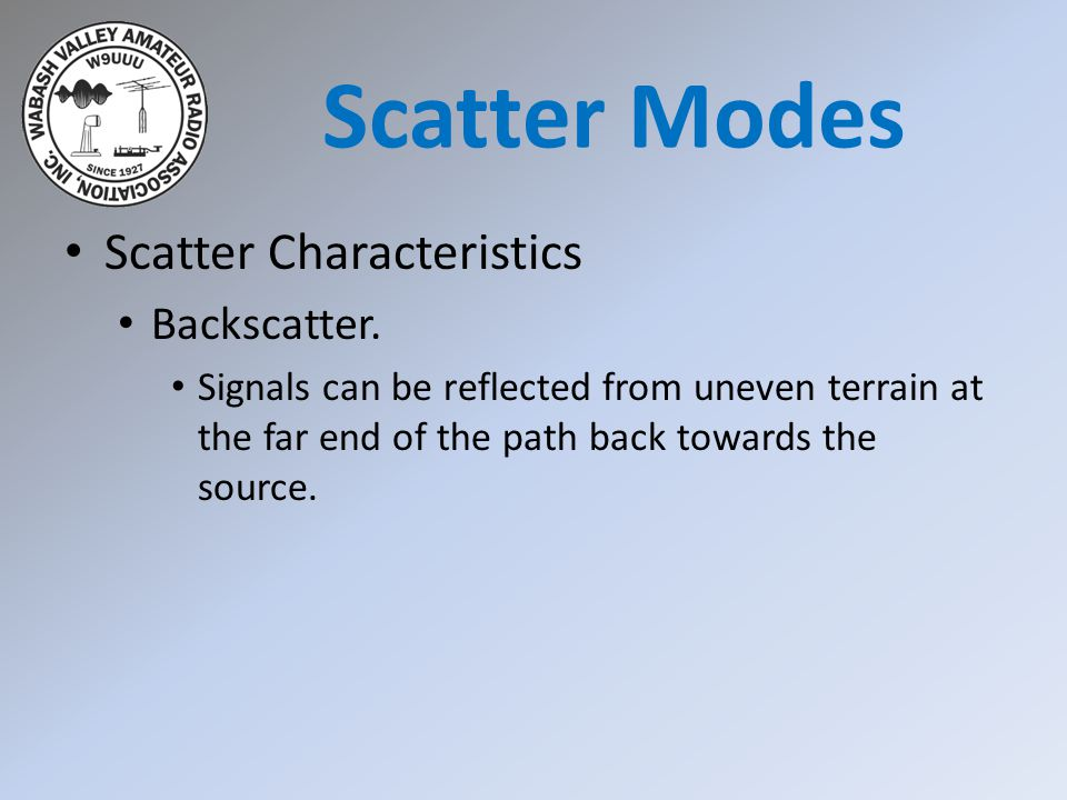 Scatter Modes Scatter Characteristics Backscatter.